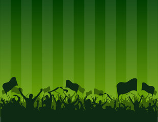 green background fans flags