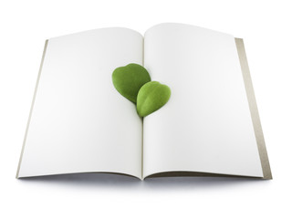 Recycle Notebook with Heart leaf Isolated on White Background