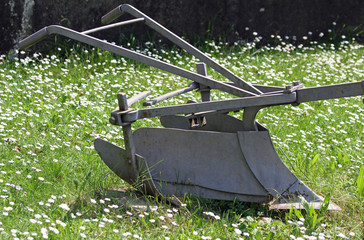Sturdy bit of ancient iron plow for plowing the land