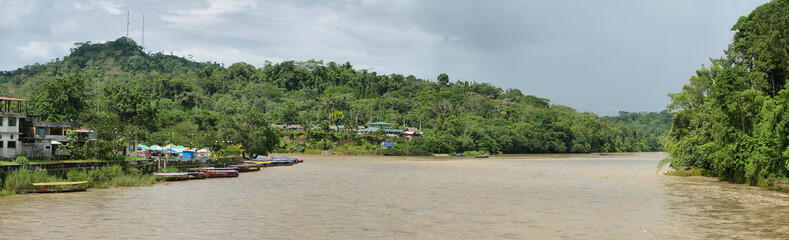 Misahualli river in the amazon jungle