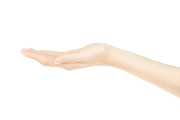 Woman hand open, palm up on white, clipping path