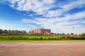 Emirates Palace and gardens in Abu Dhabi, UAE