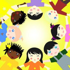Children of different races together in a circle on sunny backgr
