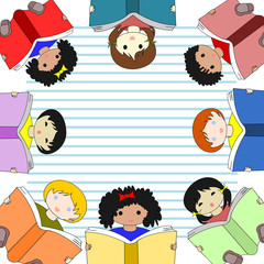 Children of different races reading books and sit in a circle on