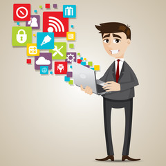 cartoon businessman with laptop and icon