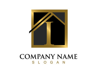 Gold letter I house logo