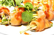 Fish rolls with herbs and fruit