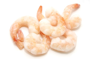 some frozen king prawns on a white background