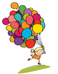 Vector  little girl holding many colorfull balloons.