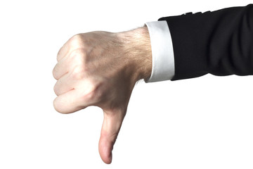 businessman in black suite shows thumbs down