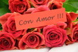 Obrazy na płótnie, fototapety, zdjęcia, fotoobrazy drukowane : życzenia miłości na tle przepięknych róż