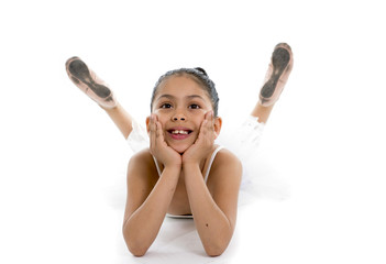 sweet young cute ballet dancer girl posing on white background