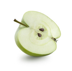 Half of Granny Smith apple on white background isolated