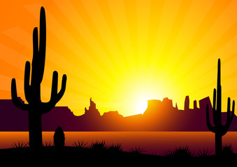 Desert Sunrise & Cactus-Vector