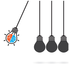 Newton's cradle concept on background,creative light bulb Idea c