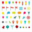 Colorful Navigation Pins. Isolated on White Vector Illustration