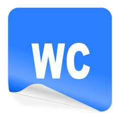 toilet blue sticker icon