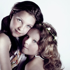 Portrait of two young girls.