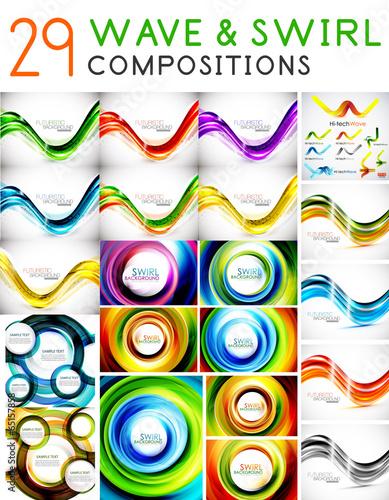 Mega set of waves and swirls - design templates