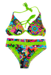 Multicolored, green separate swimsuit.