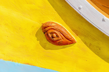 Horus or Osiris eye in Luzzu at Marsaxlokk, Malta