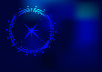 Background with compass sign on blue background