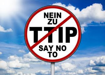 Schild mit NEIN ZU TTIP
