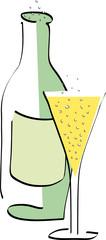 Sektflasche mit Sektglas