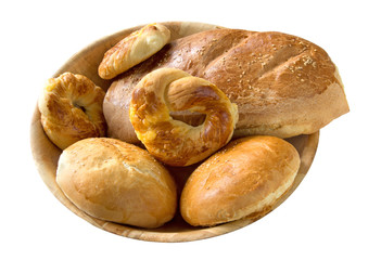 Bread rolls and loaf