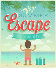 Summer Escape poster. Vector illustration.