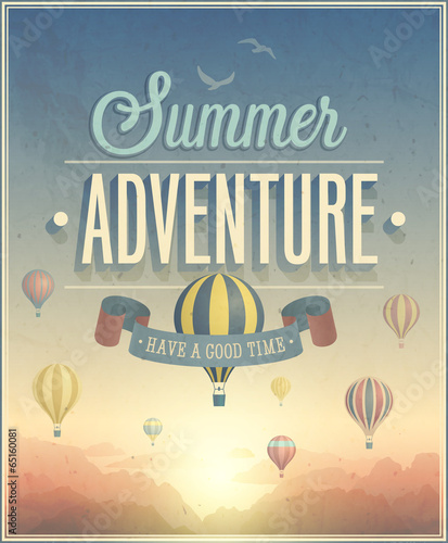 Summer Adventure poster. Vector illustration. - 65160081