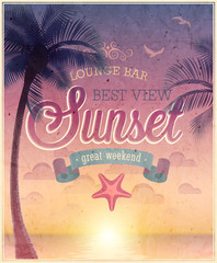 Lounge Bar poster. Vector illustration.