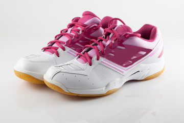 Badminton shoes on pink color