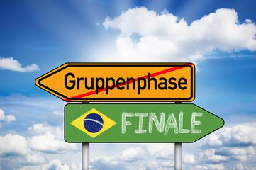 Wegweiser mit Gruppenphase und Finale