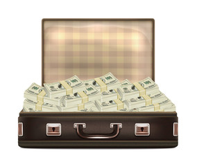 Open Suitcase with Money