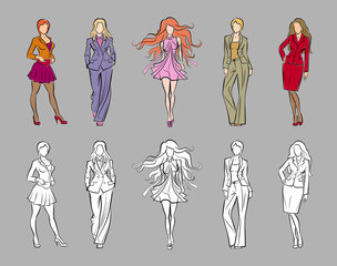 Fashion models in sketchy/hand-drawing style