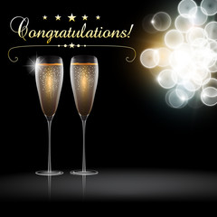 Vector congratulation with a pair glass of champagne