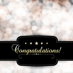 Vector congratulation banner with blurred lights background