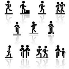 Walking vector icons set . EPS10.