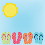 Fototapety flip flops or sandals on blue sky background and sun