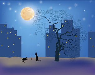 Cats .Сats in the moonlight on the roofs of the city