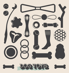 Vector Set: Dog Toys Icons and Objects
