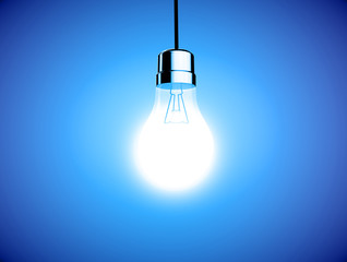 single lightbulb shining a bright light on blue background