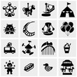 Amusement Park, circus vector icons set on gray