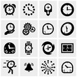Clocks vector icons set on gray