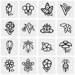 Flower icons set on gray