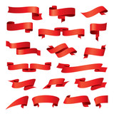 biggest collection of vector red ribbons poster