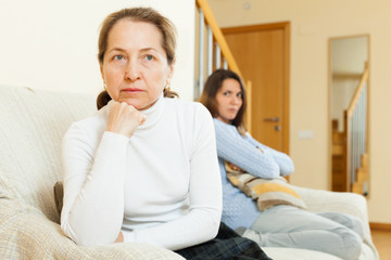 Mother and daughter after quarrel