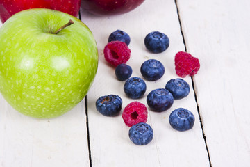 fresh fruit on white background, healthy meal