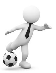 omino bianco che calcia un pallone